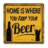Home is where you keep your beer vintage metal sign Royalty Free Stock Photos