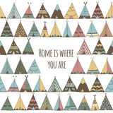 Home is where you are. Teepee tent illustration. Royalty Free Stock Image