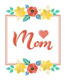 Home is where your Mom is in frame lettering poster royalty free illustration
