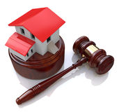 Home on white background and court gavel (done in 3d) Stock Photos