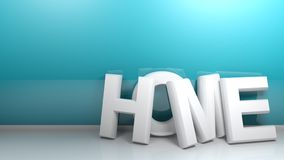 HOME in white 3D letters at a blue wall - 3D rendering. The write HOME, in white 3D letters, standing on a white pavement of a roome, leaning at a blue glossy royalty free illustration
