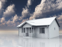 Home in white landscape Royalty Free Stock Photos