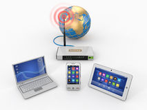 Home wifi network. Internet via router. On phone, laptop and tablet pc. 3d stock illustration