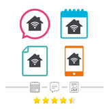 Home Wifi sign. Wi-fi symbol. Wireless Network. Home Wifi sign. Wi-fi symbol. Wireless Network icon. Wifi zone. Calendar, chat speech bubble and report linear Stock Image