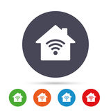 Home Wifi sign. Wi-fi symbol. Wireless Network. Home Wifi sign. Wi-fi symbol. Wireless Network icon. Wifi zone. Round colourful buttons with flat icons. Vector Stock Photography