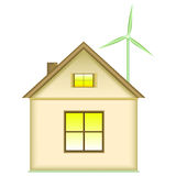Home wind turbine - renewable energy concept. House and wind turbine. Icon, isolated on white background. Renewable energy concept stock illustration