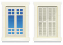 Home Window - Awake And Asleep. Illustration of separated exterior home windows with and without closed flap Stock Photography