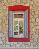 Home window, Kalavryta Greece. Vintage home window, Kalavryta Greece royalty free stock photos