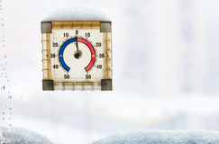 Home window thermometer in thawing winter day Stock Photo
