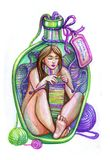 Home woman in a bottle. Knitting scarf stock illustration