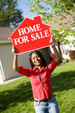Home: Woman Wants to Sell House Royalty Free Stock Photos