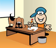 Home work. A dog is about to eat his homework, because he put dog food track to his homework Stock Photography