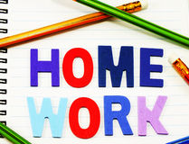Home work alphabet from colorful wooden Stock Photography