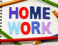 Home work alphabet from colorful wooden Royalty Free Stock Images