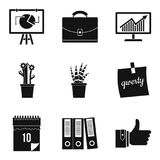 Home work icons set, simple style. Home work icons set. Simple set of 9 home work vector icons for web isolated on white background Royalty Free Stock Images