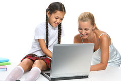 Home work at laptop Royalty Free Stock Images