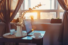Free Home Work Place With Laptop, Cup Of Hot Drink And Blooming Brunch In Vase On Coffee Table Near Window On Sunset Or Sunrise. Stock Image - 179213921