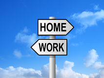 Home Work Signpost Royalty Free Stock Photography