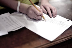 Home Work on Table with Pencil Royalty Free Stock Image