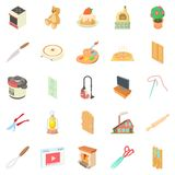 Home worker icons set, cartoon style Royalty Free Stock Image