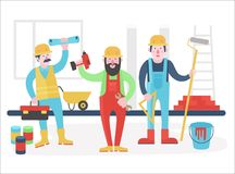 Home workers vector characters team. Friendly workers in workwear uniform standing together. Flat vector illustration. stock illustration