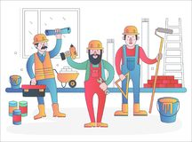 Home workers vector characters team. Friendly workers in workwear uniform standing together. Modern flat gradient line royalty free illustration