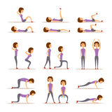 Home workout woman vector illustration. Royalty Free Stock Image