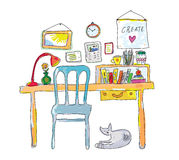 Home workplace for designer sketch. Interior hand drawn illustration Royalty Free Stock Photos