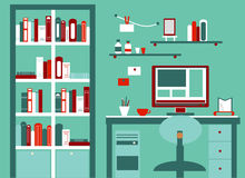 Home workplace flat vector design. Cabinet with Royalty Free Stock Image
