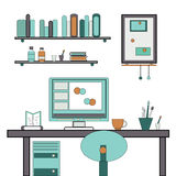 Home workplace flat vector design. Royalty Free Stock Photo