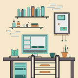 Home workplace flat vector design. Workspace for Royalty Free Stock Image