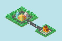 The home and workplace in the isometric. A vivid illustration of the map of the city in isometric view. There are shops and offices, there is a country house royalty free illustration