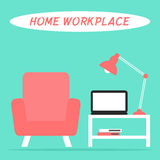 Home workplace in the living room interior with laptop, lamp, armchair and table. Stock Images