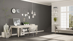 Home workplace, scandinavian white and gray room, corner office,. Classic minimalist interior design Royalty Free Stock Photo