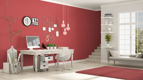 Home workplace, scandinavian white and red room, corner office, Royalty Free Stock Photo
