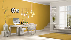 Home workplace, scandinavian white and yellow room, corner offic Stock Images