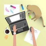 Home workplace. Vector illustration of home workplace with lying cat Royalty Free Stock Photo