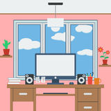 Home workspace flat vector illustration Royalty Free Stock Photo
