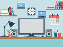 Home workspace flat vector illustration Stock Photos