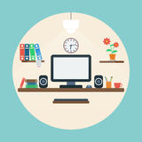 Home workspace flat vector illustration Stock Images