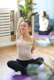 home yoga royaltyfria foton