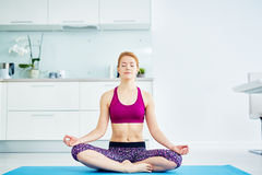 Home Yoga Practice Royalty Free Stock Images