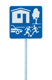 Home zone entry road sign, isolated residential area road traffic signage Stock Images