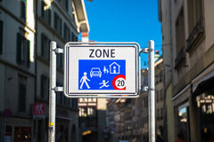 Home Zone Entry Sign. Isolated residential area road traffic Royalty Free Stock Images