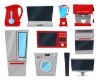Homeappliance för kök för vektor för hushållanordningar elektronisk för husuppsättningkylskåp eller tvagningmaskin in vektor illustrationer