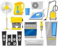 Homeappliance för kök för vektor för hushållanordningar elektronisk för maskin eller kylskåp för husuppsättningkaffe i elkraft royaltyfri illustrationer