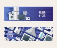 Homeappliance för kök för vektor för modell för hushållanordningar elektronisk för maskin för tvagning för kylskåp för husbakgrun vektor illustrationer