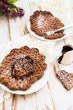 Homebaked Chocolate Waffles Stock Image