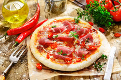 Homebaked pepperoni pizza Royalty Free Stock Photo