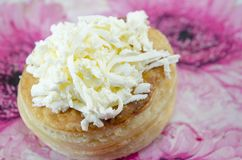Homebaked puff pastry with cheese Stock Image
